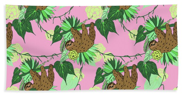 Sloth - Green On Pink Bath Towel