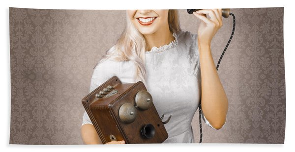 Smiling Vintage Woman Hearing Good News On Phone Hand Towel