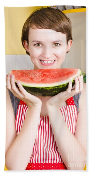 Smiling Young Woman Eating Fresh Fruit Watermelon Hand Towel