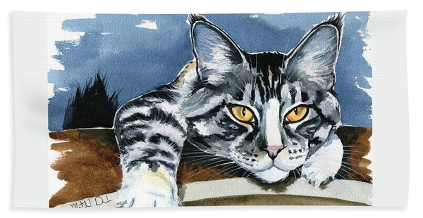Smilla - Maine Coon Cat Painting Bath Towel