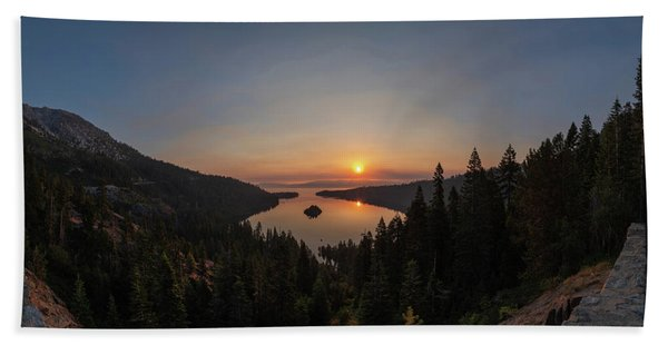 Smokey Sunrise At Emerald Bay Hand Towel