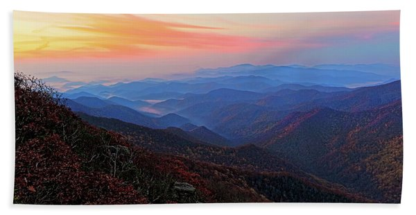 Dawn From Standing Indian Mountain Hand Towel