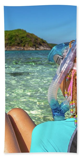 Snorkeler Relaxing On Tropical Beach Bath Towel