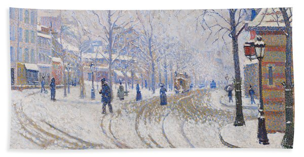Snow, Boulevard De Clichy, Paris Bath Towel