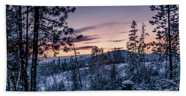 Snow Coved Trees And Sunset Hand Towel