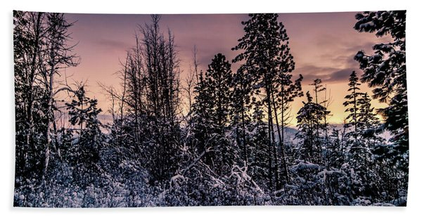 Snow Covered Pine Trees Bath Towel