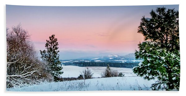 Snow Covered Valley Bath Towel