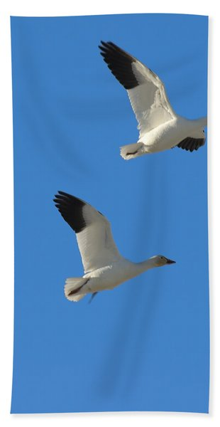 Snow Geese Moon Bath Towel