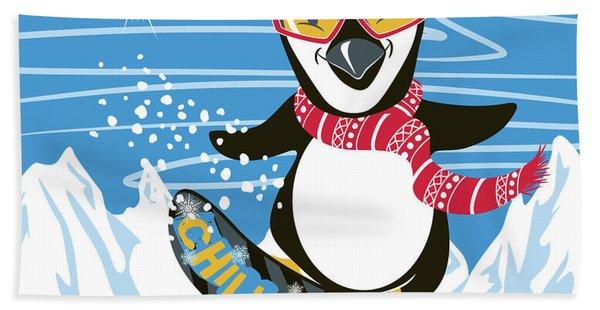 Snowboarding Penguin Bath Towel