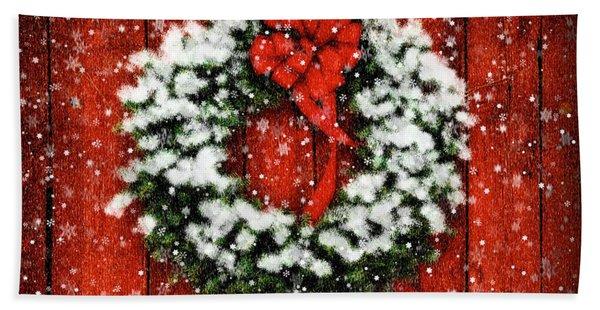 Snowy Christmas Wreath Bath Towel