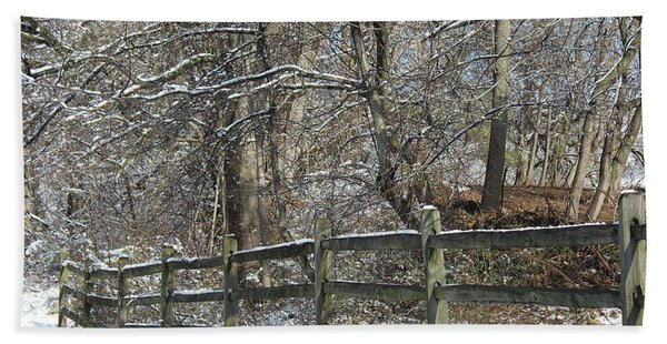 Winter Fence Hand Towel