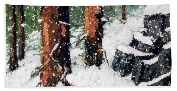 Snowy Redwood Dream Bath Towel
