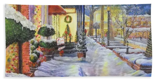 Soft Snowfall In Dahlonega Georgia An Old Fashioned Christmas Hand Towel