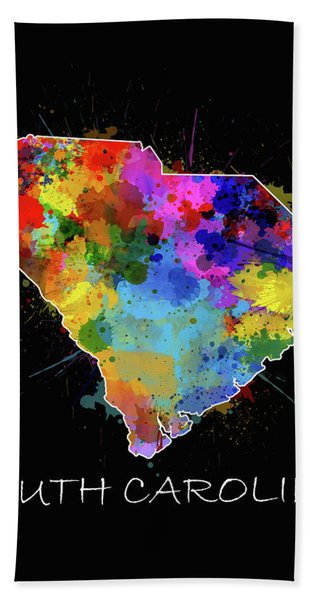 South Carolina Map Color Splatter 2 Bath Towel