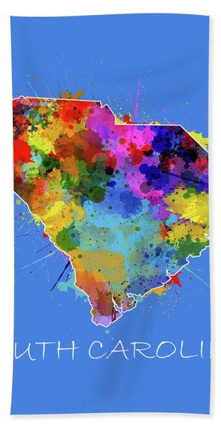 South Carolina Map Color Splatter 3 Bath Towel