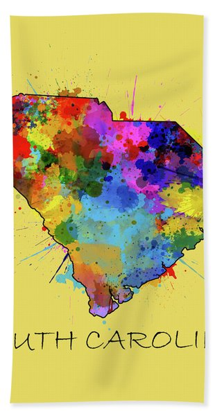 South Carolina Map Color Splatter 4 Bath Towel