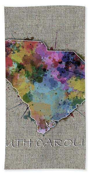 South Carolina Map Color Splatter 5 Bath Towel