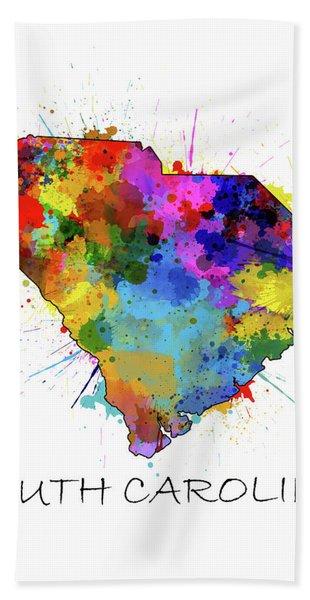 South Carolina Map Color Splatter Bath Towel