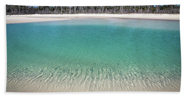 Sparkling Beach Lagoon On Deserted Beach Bath Towel