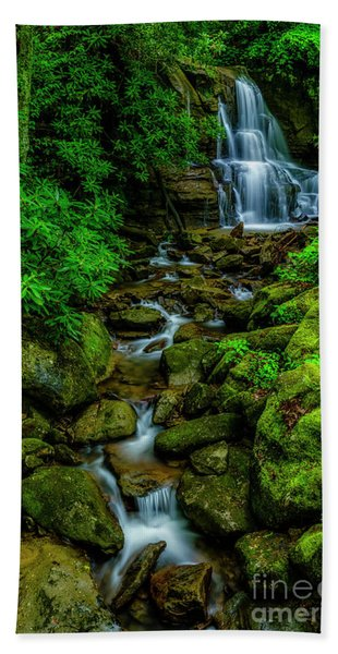 Spring Green Waterfall And Rhododendron Bath Towel