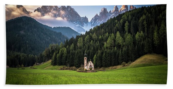 Hand Towel featuring the photograph St. Johann Church In Val Di Funes by James Udall