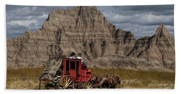 Stage Coach In The Badlands Hand Towel
