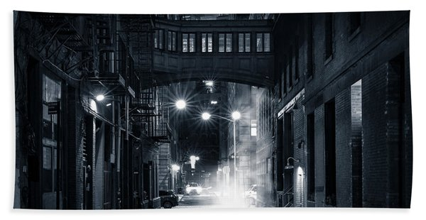 Hand Towel featuring the photograph Staple Street Skybridge By Night by Mihai Andritoiu