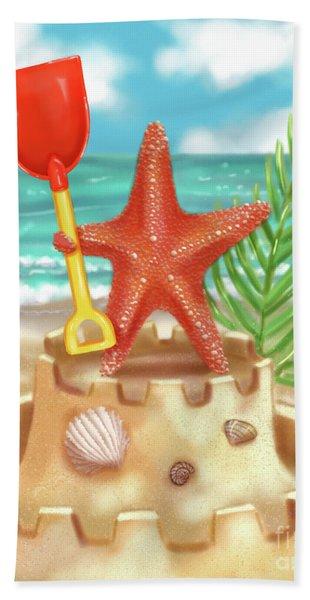 Starfish Makes A Sandcastle Hand Towel