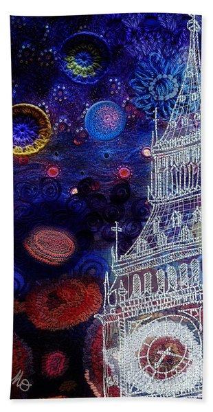 Starry Night In London Bath Towel