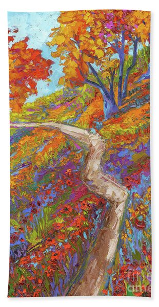 Stay On The Path - Modern Impressionist, Landscape Painting, Oil Palette Knife Bath Towel