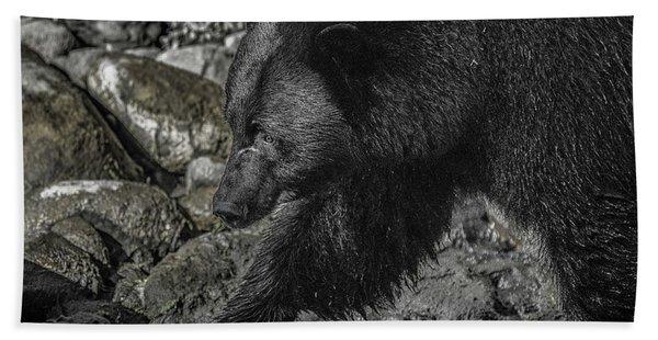 Stepping Into The Creek Black Bear Hand Towel