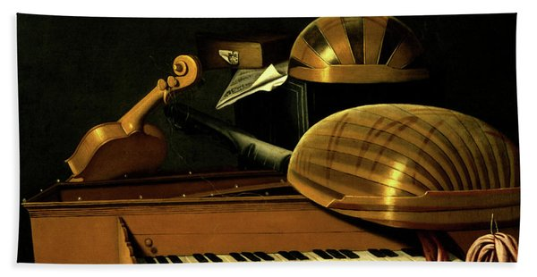 Still Life With Musical Instruments And Books Bath Towel