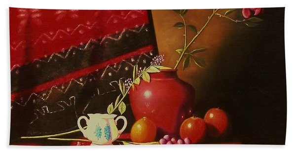 Still Life With Red Vase. Bath Towel