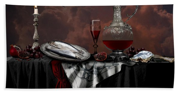 Still Life With Red Wine Bath Towel