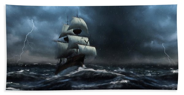 Stormy Seas - Nautical Art Hand Towel