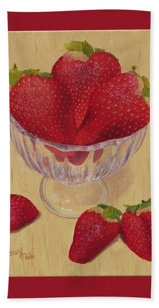 Strawberries In Crystal Dish Hand Towel
