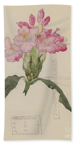 Study Of A Rhododendron, 1915 Hand Towel