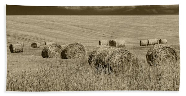 Summer Harvest Field With Hay Bales In Sepia Hand Towel