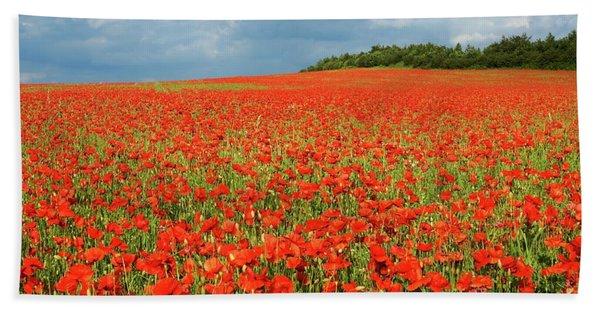 Summer Poppies In England Bath Towel