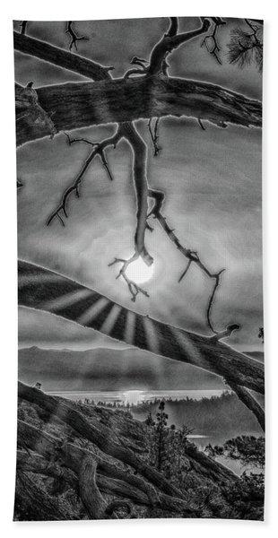 Sun Ornament - Black And White Hand Towel