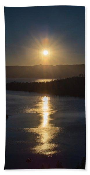 Sun Rising Over Lake Tahoe Hand Towel