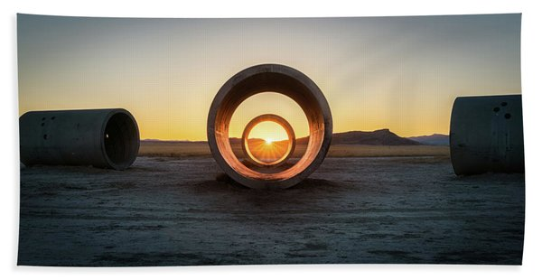Hand Towel featuring the photograph Sun Tunnel Solstice by James Udall