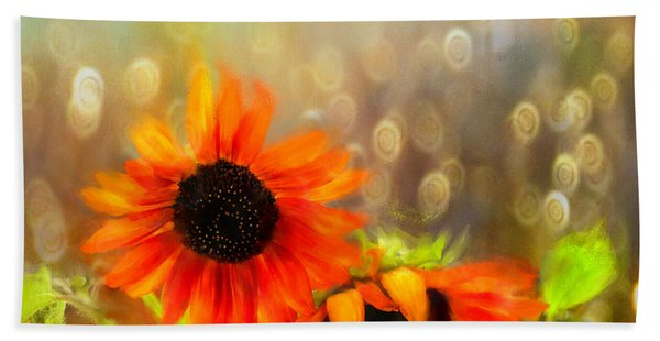 Sunflower Rain Hand Towel