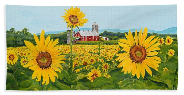 Sunflowers On Route 45 - Pennsylvania- Autumn Glow Hand Towel