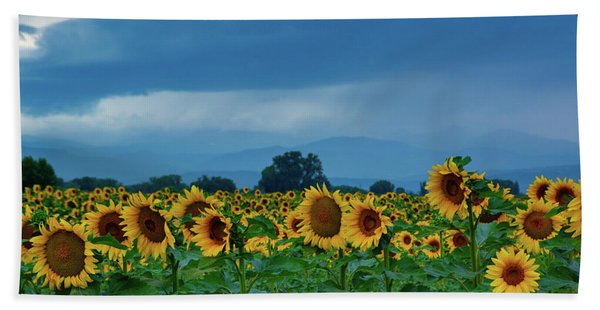 Hand Towel featuring the photograph Sunflowers Under A Stormy Sky by John De Bord