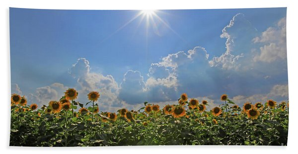 Sunflowers With Sun And Clouds 1 Bath Towel