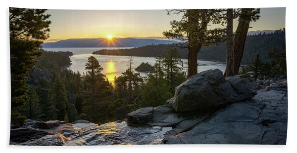 Hand Towel featuring the photograph Sunrise At Emerald Bay In Lake Tahoe by James Udall