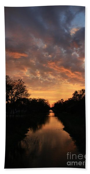 Sunrise On The Illinois Michigan Canal Hand Towel