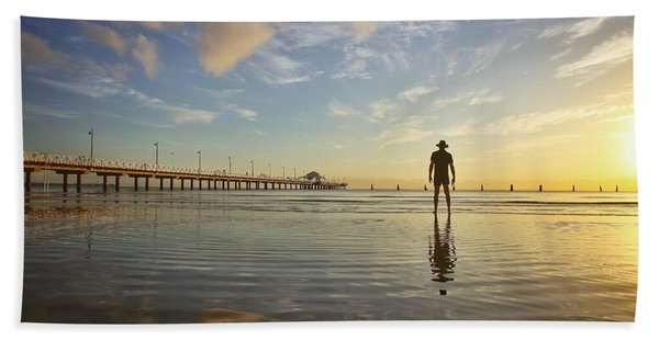Sunrise Silhouette Down By The Pier. Hand Towel
