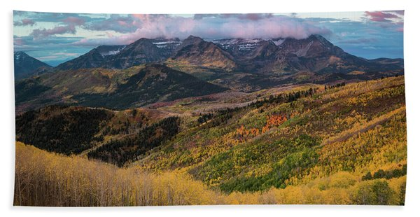 Hand Towel featuring the photograph Sunrise View Of Mount Timpanogos by James Udall